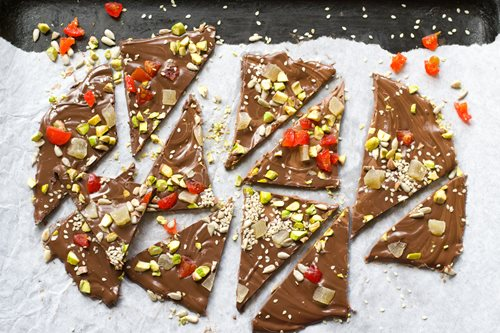 Recipe of the Day - Chili Chocolate Bark with Cherries and Pistachios